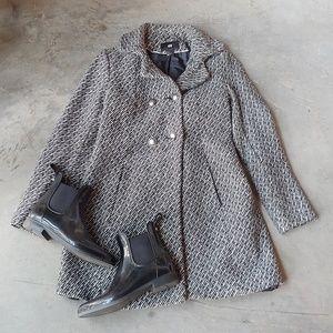 H&M Black White Gray Tweed Top Coat Jacket 6